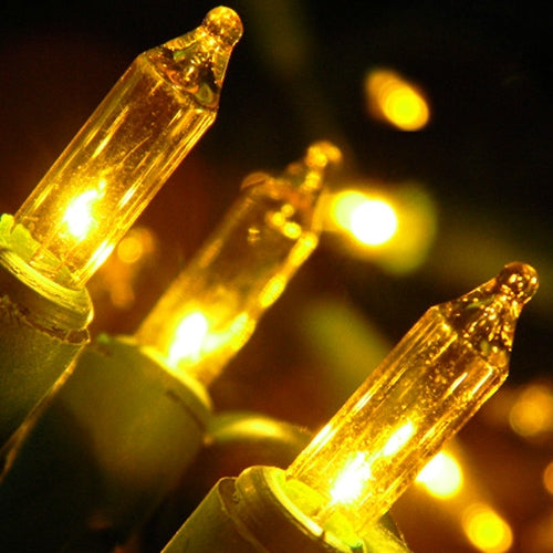 String Lights, 100 Bulbs, Indoor or Outdoor, Green Wire, Plug-In, Yellow
