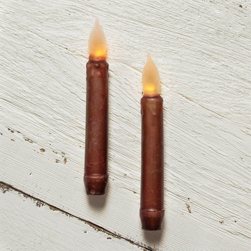 Stick Candle, LED, Flickering Amber Bulb, 6.25 in., Brown, 2 Pack
