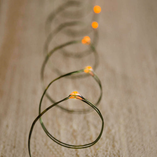 LED Fairy Lights, Battery Op, 10 ft, Timer, Multifunction, Amber