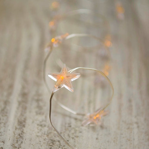 Star LED Fairy Lights, Silver Wire, 3 ft, Warm White