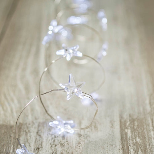Star LED Fairy Lights, Silver Wire, 3 Feet, Battery Operated, Cool White