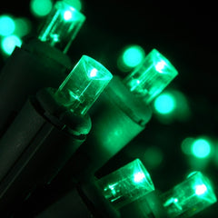 LED String Lights, 60 Wide Angle Bulbs, Plug In, Green Wire, GREEN
