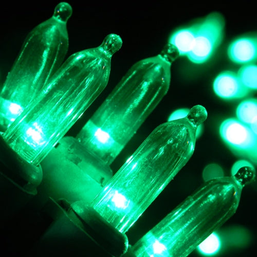 LED String Lights, 60 Mini Bulbs, Plug In, Green Wire, GREEN