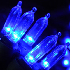 LED String Lights, 60 Mini Bulbs, Plug In, Green Wire, BLUE