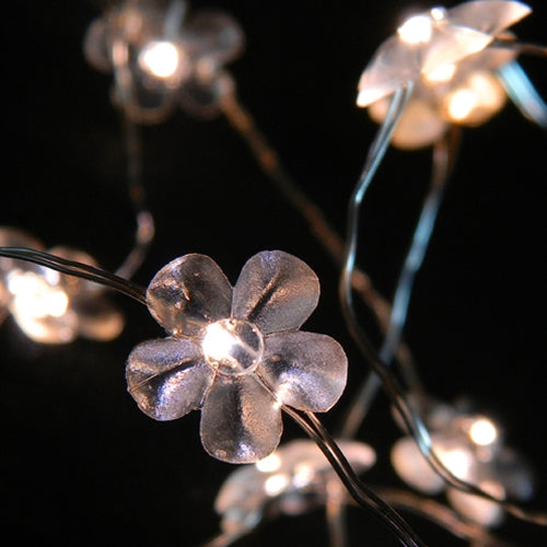 LED Fairy Lights, 3.3 ft Ultra Thin Silver Wire, 20 Warm White Flowers