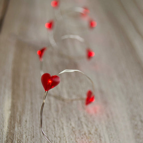 LED Fairy Lights, 3.3 ft. Ultra Thin Silver Wire, 20 Red Hearts