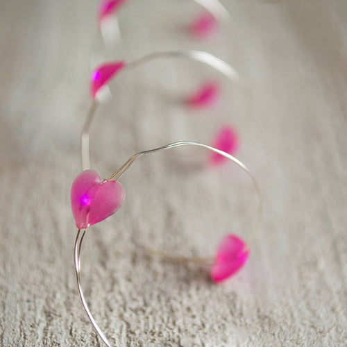 LED Fairy Lights, 3.3 ft. Ultra Thin Silver Wire, 20 Pink Hearts