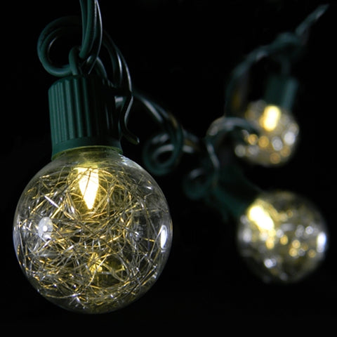 Commercial LED Globe String Lights, 100 Ft Black Wire, 1.5 in bulb, Warm White