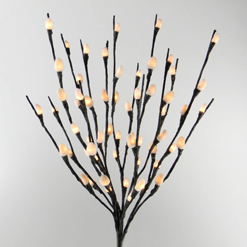 Lighted Pussy Willow Branch, Bendable, 20 inch, 60 Bulbs, Plug In