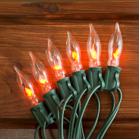 Flickering Flame String Lights, 50 Outdoor C7 Bulbs, 50 ft. Green Wire