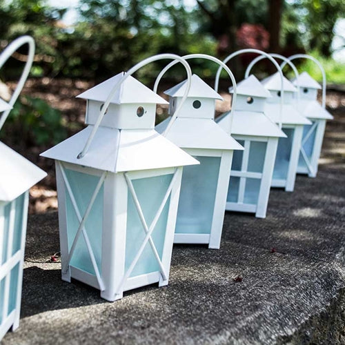 Metal Candle Lanterns with LED Tea Lights, 5.5 inch, Timer, White, Set of 12