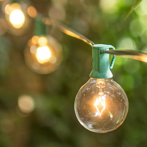 Globe String Lights, 2 Inch E12 Bulbs, 25 Foot Green Wire C7 Strand, Clear