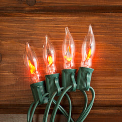 Flickering Flame String Lights, 25 Outdoor C7 Bulbs, 25 ft. Green Wire