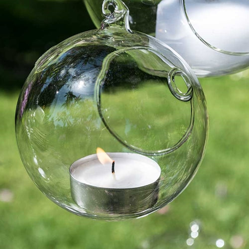 Candle Holder Orb, Round Glass Globe, Hanging or Table Top, 3 inch, 6 Pack