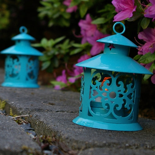 Round Metal Hurricane Lantern for Tea Lights, 5 inches Tall, Turquoise
