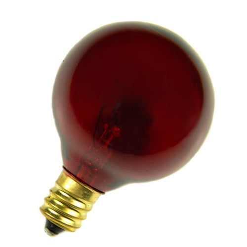 Replacement Globe Light Bulb, G40, E12, 5w/130v, Translucent Red