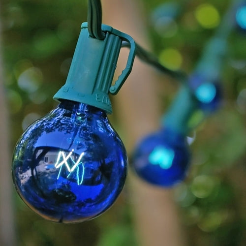 Globe String Lights, 1.5 Inch E12 Bulbs, 25 Foot Green Wire, Blue