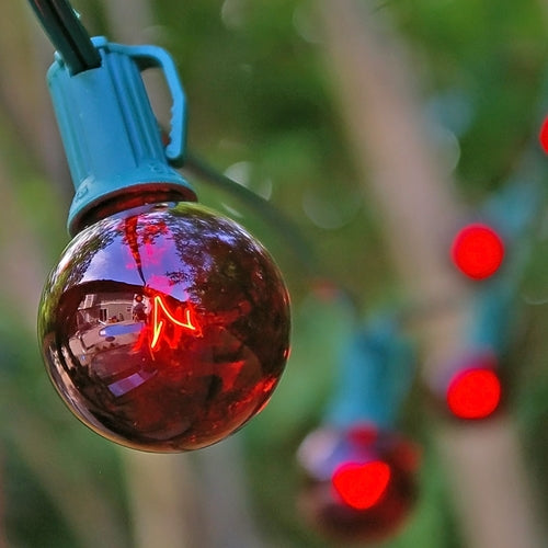 Globe String Lights, 1.5 Inch E12 Bulbs, 25 Foot Green Wire C7 Strand, Red