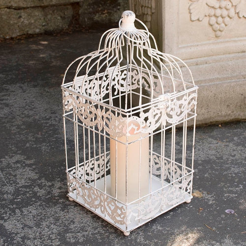 Square Bird Cage with Flameless Candle, 15 in., Timer, ANTIQUE WHITE