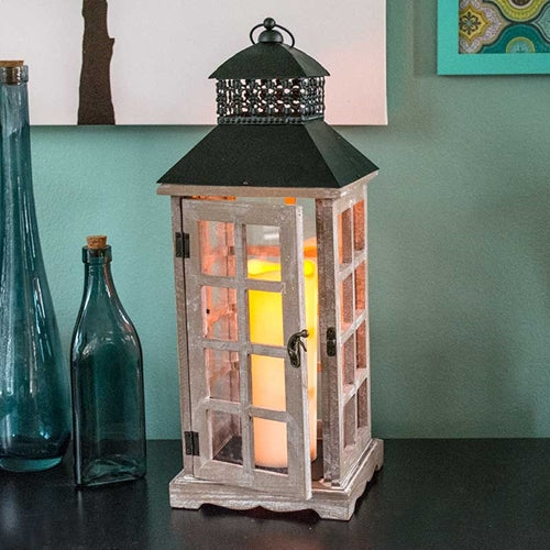 White Washed Wood Lantern with Flameless Pillar Candle, 7 x 18.5 in., Timer