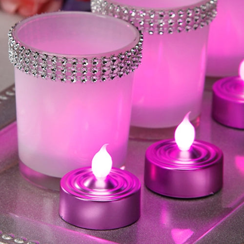 Flameless Tea Lights, Flickering Pink LED Flame, 3 Pack, Pink