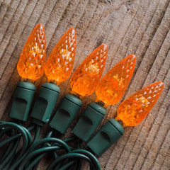String Lights, Strawberry LED , 24 ft, Outdoor, Green Wire, Orange
