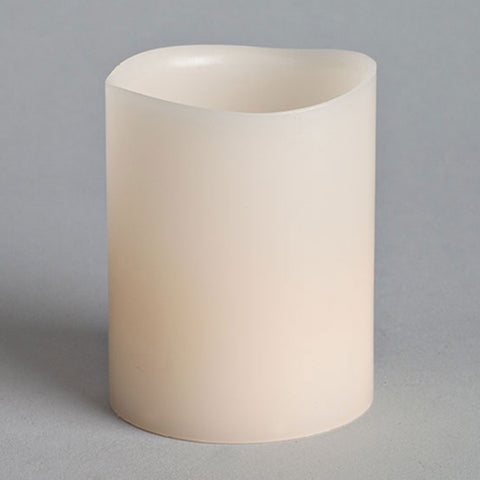 Pillar Candle, Flickering LED, 4 in., White, Battery Op, Timer Feature