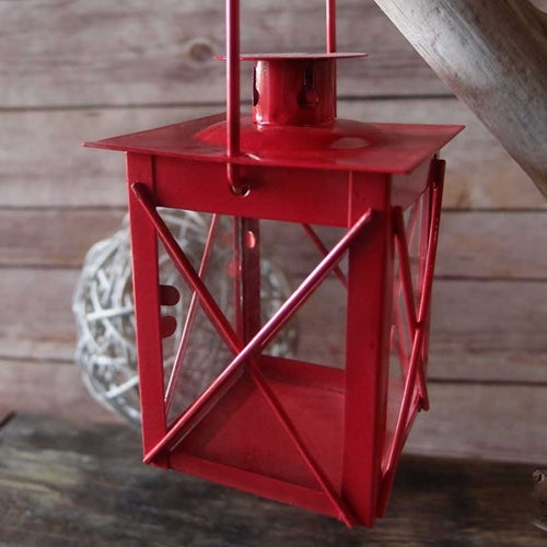 Hurricane Lantern, Small 3.75 inch, Metal with Glass Sides, Red