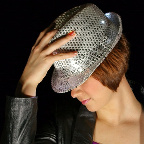 LED Lighted Fedora Hat with Sequins, Battery, Multi Function, SILVER, Set of 3