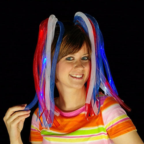 Light Up Hair Noodles, Battery Op, Multifunction, Red, White, Blue , Set of 4