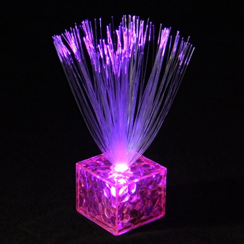 Mini Fiber Optic Centerpiece, Cube Base, 5.5 in. Tall, Battery, Pink, Set of 12
