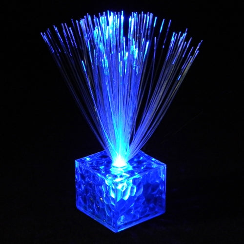 Mini Fiber Optic Centerpiece, Cube Base, 5.5 in. Tall, Battery, BLUE, Set of 12