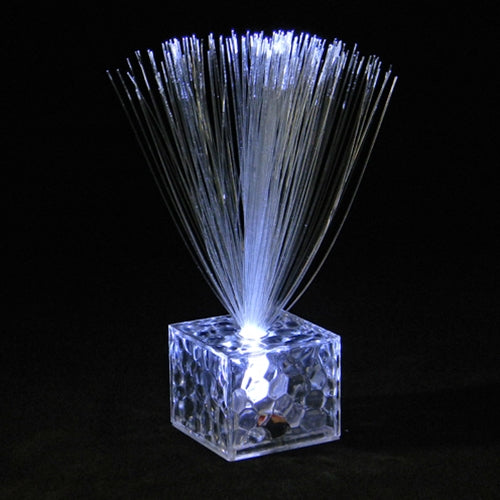Mini Fiber Optic Centerpiece, Cube Base, 5.5 in. Tall, Battery, WHITE, Set of 12