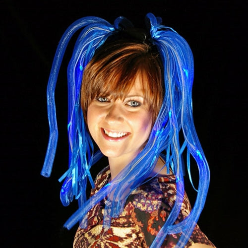 Light Up Hair Noodles, Battery Operated, Multifunction, Blue, Set of 4