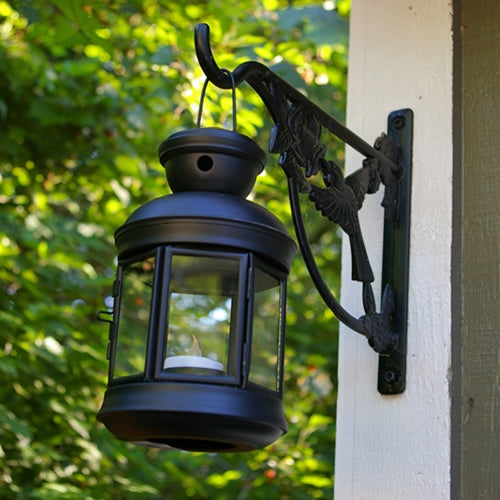 Metal Lantern for Flameless Candles, 4.75 x 8 in., Hexagonal, BLACK
