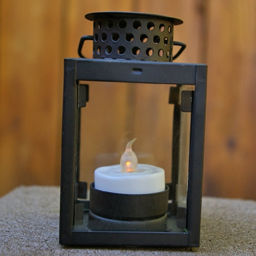 Hurricane Lantern, Small 4.25 inch,Square Metal with Glass Sides, Black