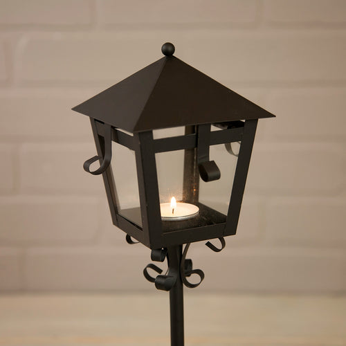 Lantern Style Metal Candle Holder, Black