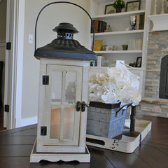 Wood Lantern with Flameless Pillar Candle, 6.25 x 15 in., Timer Feat.