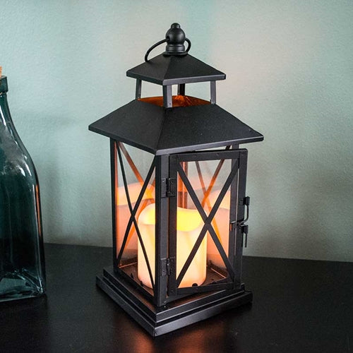 Metal Hurricane Lantern with Pillar Candle, 11.5 in, Timer, Black