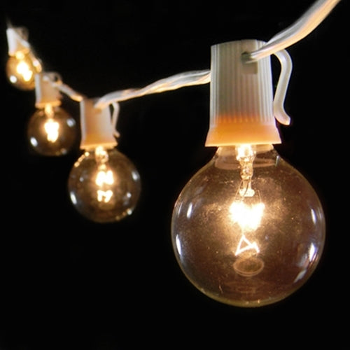 Globe String Lights, 15 E17 Bulbs, 28 ft White Wire C9, Clear