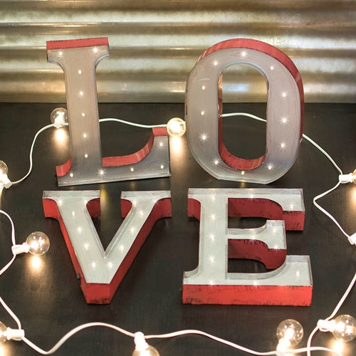 Marquee LED Light, Metal Love Sign, Industrial Letters, Battery Operated, 13.5 in