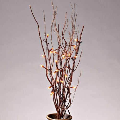 Lighted Natural Willow Branches, 25 Rice Lights, 20 in., Plug In