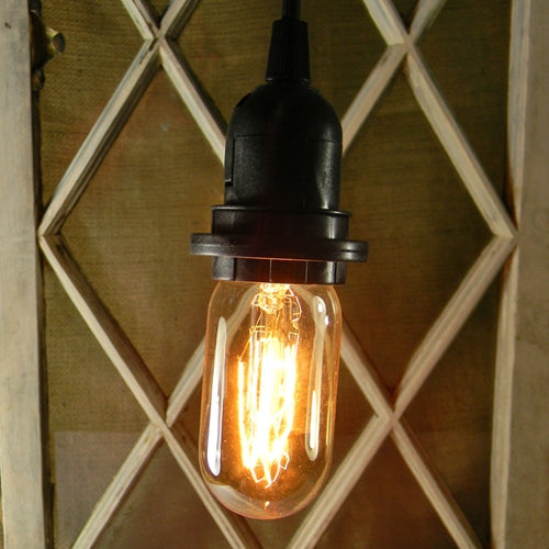 Pendant Light with Antique Bulb, 15 foot Black Cord, Plug-In, Radio