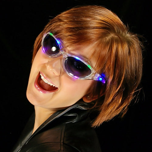 LED Lighted Sunglasses, Battery Operated, Multi Function, MULTI COLOR