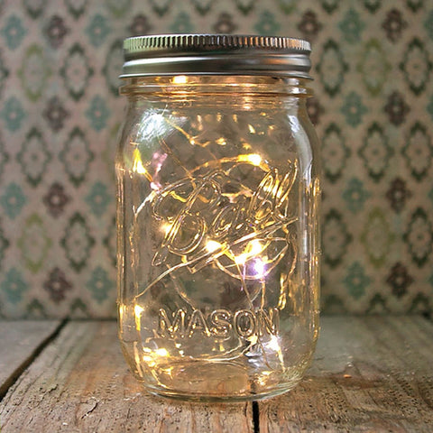 6.9-Inch Tall Battery-Operated Clear Glass Mason Jars with Silver Lid (Set of 4)