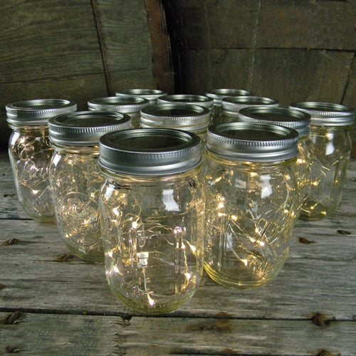 Mason Jar Light, 16 oz. Pint, Warm White Fairy Lights, Battery Op, Set of 12