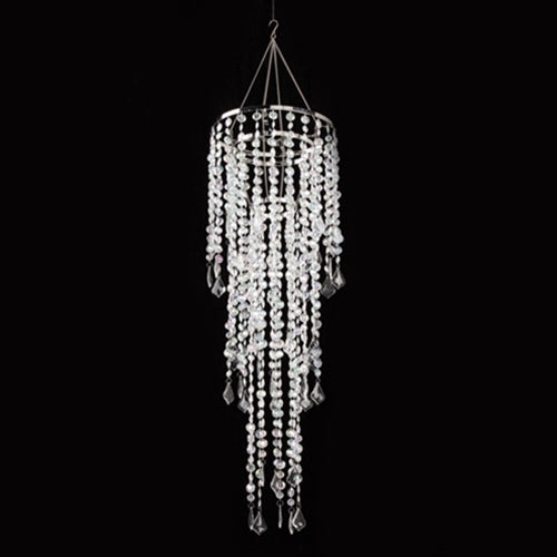 Chandelier, 32 LED Bulbs, Gemstone Beaded, Battery, 33.5 inch, Clear