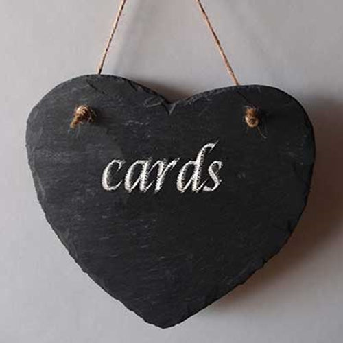 Slate Heart Chalkboard Sign, Twine for Hanging, Blackboard