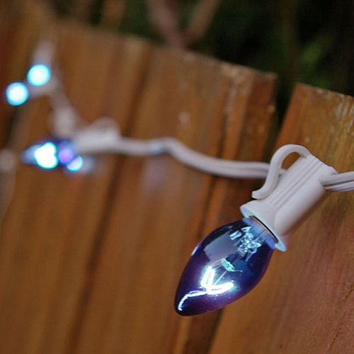 String Lights, 25 C7 Bulbs, 25 ft. White Wire, Outdoor, Plug in, BLUE