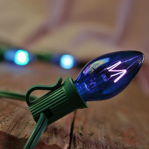 String Lights, 50 C7 Bulbs, 50 ft. Green Wire, Outdoor, Plug in, BLUE